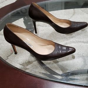 Manolo Blahnik size 38 chocolate brown heels